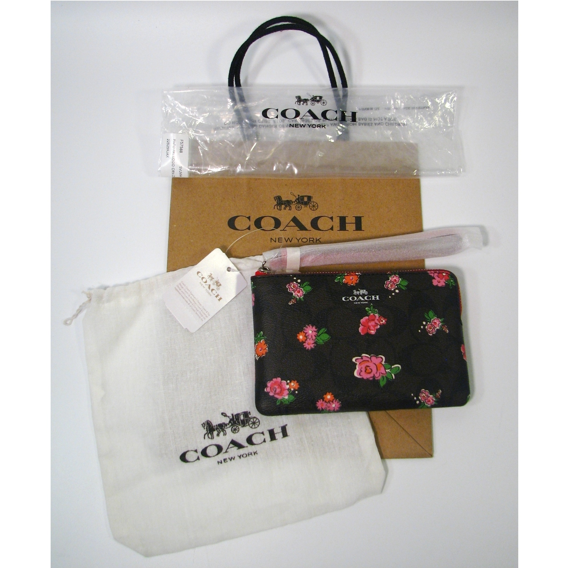 Coach Wristlet Brown With Pink Flowers Nwt Dust And Gift Bag