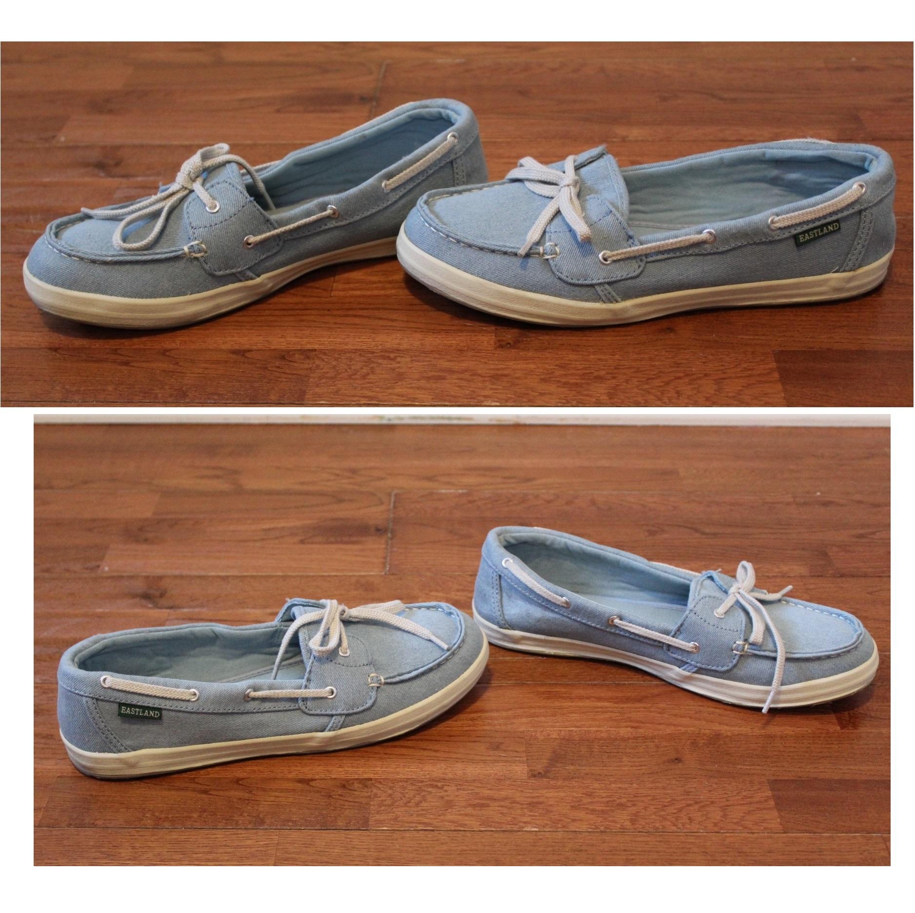 8a79a7766a52 Eastland Skip Denim Light Blue Boat Shoes Women s 9.5 Fit Like Wide