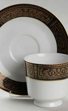 Seyei Fine China Anniversary 7018 Footed Cup and Saucer Set