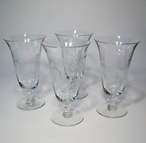 Large Etched Crystal Parfait glasses